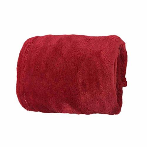 Coperta in flanella di flanella, per letto singolo, calda, in pile super morbido, per divano e divano, 45 x 65 cm, colore: rosso