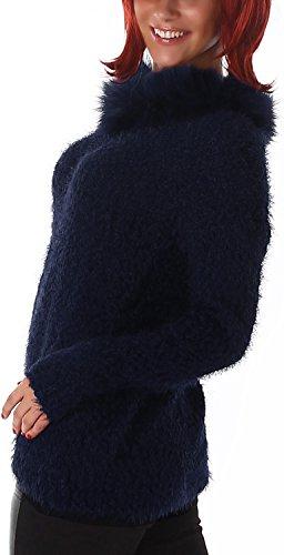 Jela London - Pull - Uni - Manches Longues - Femme Bleu - Bleu marine