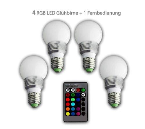4 LED Glühbirne + 1 Fernbedienung Farbwechsel Leuchte, Lampe, E27 3W RGB LED-Lampe Bulb, LED-Glühbirne mit Magie Wireless Remote Control (Remote Control Light Bulb Farben)