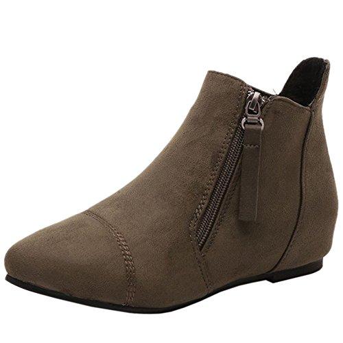 Boots Automne Eclair Green Avec Bottes Compense Talon COOLCEPT Fermeture Army Femmes Courte 7nx1PqzEY