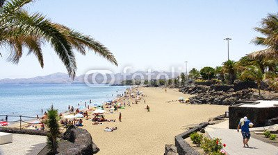 "Alu-Dibond-Bild 110 x 60 cm: \""Playa del Puerto del Carmen, Lanzarote, Islas Canarias\"", Bild auf Alu-Dibond"
