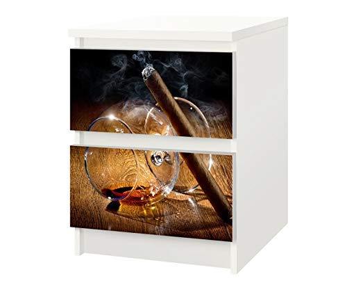 Set Möbelaufkleber für Ikea Kommode MALM 2 Fächer/Schubladen Zigarre Havana Whiskey Kat4 Küche Cognac Aufkleber Möbelfolie sticker (Ohne Möbel) Folie 25F738 -