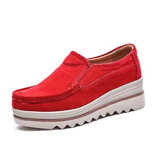 Mujer Mocasines Plataforma Casual Loafers Primavera Verano Zapatos de Cuña 5cm Negro Azul Caqui 35-42...