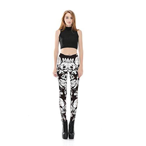 Jiayiqi Femmes 3D Motif Imprimé Étirer Maigre Leggings Halloween Pantalons Tête de crâne