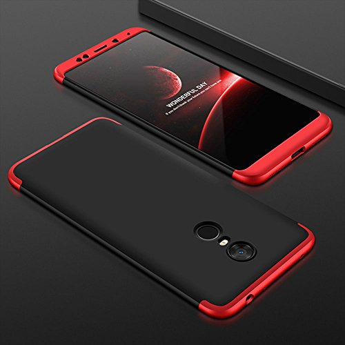 Teletel 3-in-1 Slim Fit Double Dip 360 Degree Full Protection Hard PC Back Cover Case for Xiomi Redmi Note 5 (Red Black)