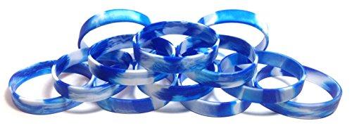 (1Dutzend Multipack blanko Armbänder Armbänder Silikon Gummi–wählen Sie aus einer Vielzahl von Farben, Blue & White Swirl)