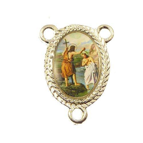 Argento St, Giovanni il Battista-centro per rosario perline religiosa Connector - religiosi Articoli