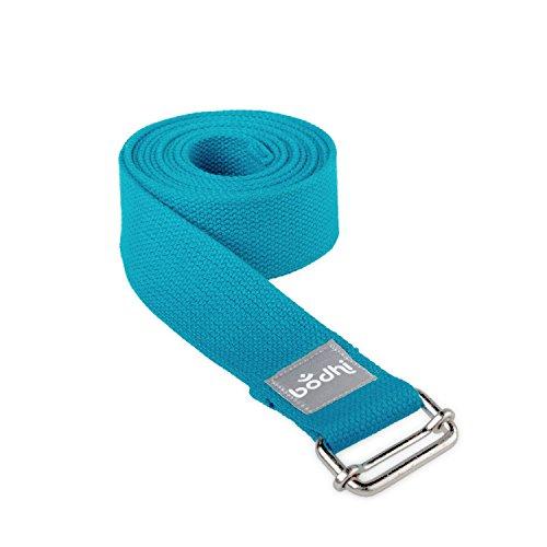 Yoga-Gurt ASANA BELT aus Baumwolle mit Schiebeschnalle aus Metall, praktisches Yoga-Zubehör, Basic Hilfsmittel nicht nur für Anfänger (petrol)