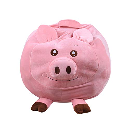 FamyFirst Kinder-Sitzsack aus Plüsch in Form der Tiere, Tragbare Aufbewahrungstasche, gepolstert, für Kleidung, Bettdecken, große Kapazität - Schweine/AFFE/Elefant (Halloween Schweine In Decken,)