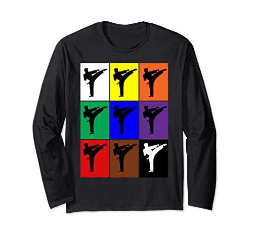Karate Gürtel Farben Pop Art Stil Lustige Kampfkünste Langarmshirt -