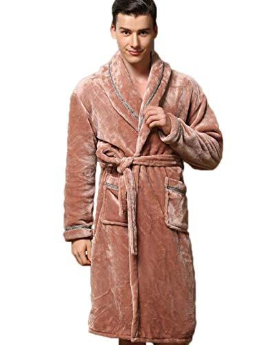 Lisay Herren Flanell Bademantel Bademäntel Herbst und Winter Korallen Fleece Pyjamas Paare Dienstanzüge (Farbe : Brown, größe : XXL)