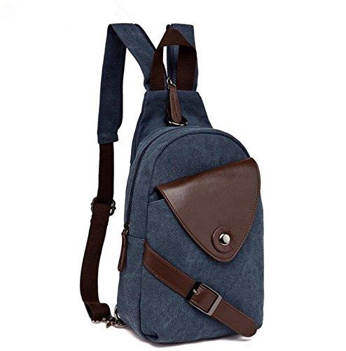 &ZHOU Segeltuchtasche, Männer und Frauen multifunktionale Canvas Tasche Brust Tasche Rucksack dual Rucksack Freizeit Schulter Messenger deep blue