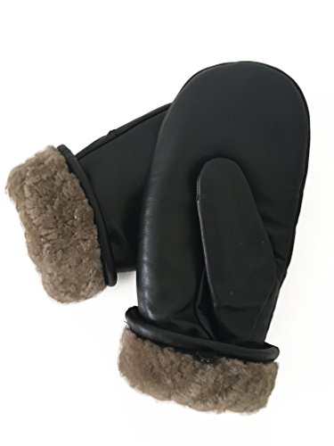 Weikert-Handschuhe Fäustlinge aus reinem Merino Lammfell und robustem Lammnappa Leder, Größe 7