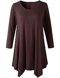 Hibote Blusas Mujeres Vintage Tamaño Más Camisetas Góticas Camisas Largas Estampadas Camisetas Manga Larga Cuello Redondo Vestido Camisetas Mini Vestido A-Linear Casual Rosado Azul Gris