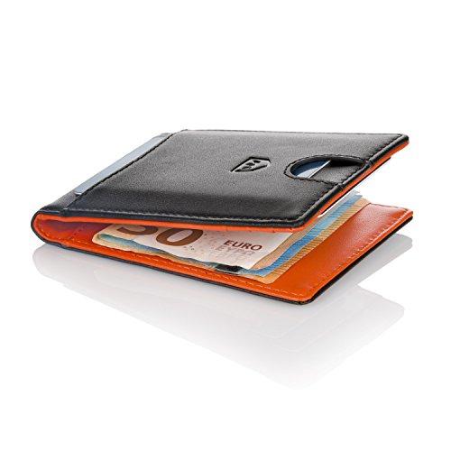 Kronenschein® Premium Herren Portemonnaie Geldbeutel mit Geldklammer Portmonee Männer Geldbörse RFID Slim-Wallet Brieftasche Kreditkartenetui Kartenetui (Schwarz/Orange)