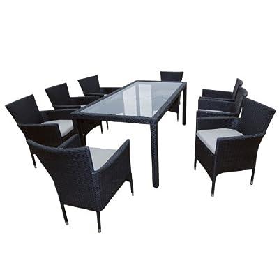 Ambientehome Polyrattan Sitzgruppe Essgruppe Sessel stapelbar Meluco, schwarz, Tisch 180 x90 cm, 9-teiliges Set