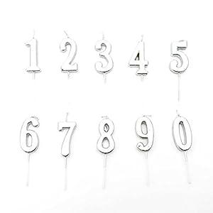 Gifts 4 All Occasions Limited SHATCHI-1345 Shatchi - Vela para decoración de tartas, diseño de 4 números, color plateado