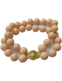 Schmuckwilly Muschelkernperlen Perlenarmband Perlen - Muschelkernperlen Armband 2-reihig leicht rosa Hochwertige mb0047