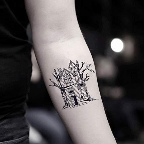 Spukhaus temporäre gefälschte Tätowierung Aufkleber abwaschbares Tattoo (Set von 2) - www.ohmytat.com