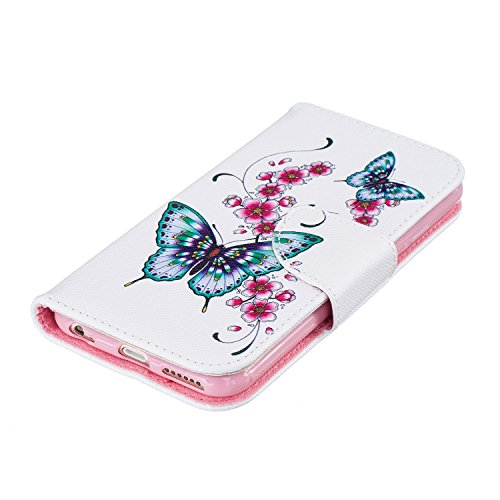 iPhone 6 / 6S (4.7 pouce) Coque , PU Cuir Étui Protection Wallet Housse la Haute Qualité Pochette Anti-rayures Couverture Bumper Magnétique Antichoc Case Anfire Cover pour iPhone 6 - Panda Deux Papillon