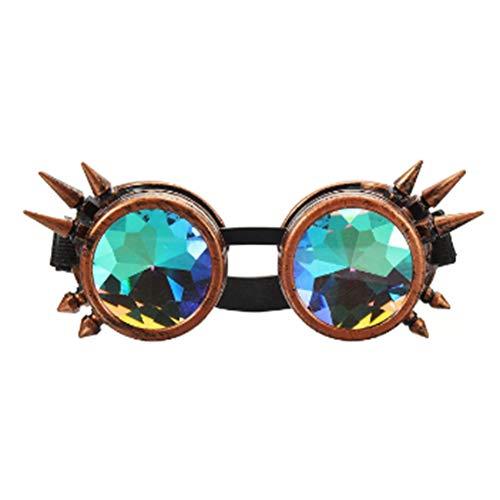 JenNiFer 5 Farben Kaleidoskop Glasse Rave Prism Sonnenbrille Crystal Lens Rainbow Party - Kupfer