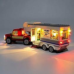 POXL LED Jeu De Lumières pour City Pick-up et sa Caravane, Kit De Lumière Kit de Éclairage Compatible avec Lego 60182 (Uniquement Lumières)