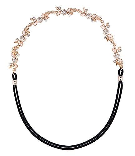SIX Basic elastisches Damen Haarband mit roségoldenen Blättern & Blüten, Strass-Blumen, rosa Steine in Perlen-Optik (456-506)