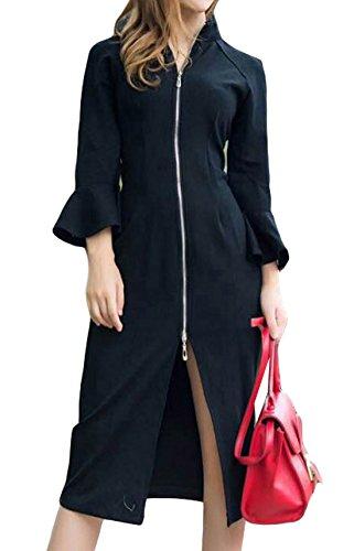 erdbeerloft - Damen Elegantes Slim Kleid mit Reißverschluss, XS-L, Viele Farben Schwarz