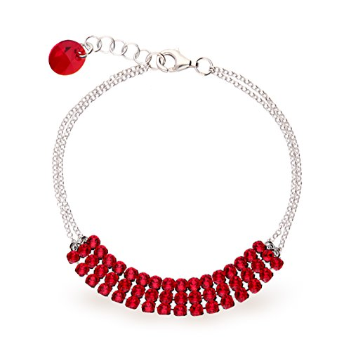 Exclusif® Cristaux Swarovski dans Ana Morales-Bracelet Femme-Argent 925/1000 Light Siam Hellrot
