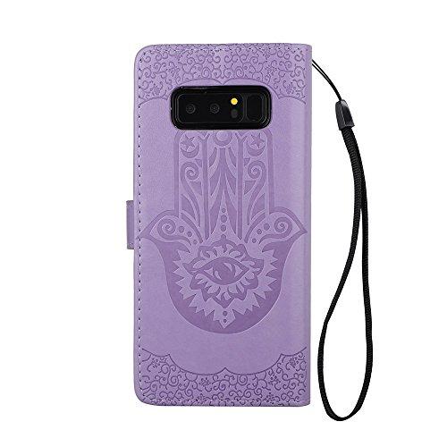 EKINHUI Case Cover Geprägte Palmen-Blumen-Muster Retro PU-lederner Mappen-Beutel-Kasten-Abdeckung mit Karten-Schlitzen und Lanyard für Samsung-Galaxie-Anmerkung 8 ( Color : Purple ) Purple