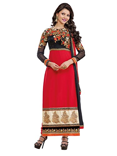 Urvashi Rautela Red & Black Color Faux Georgette Traditional Work Semi Stitched...