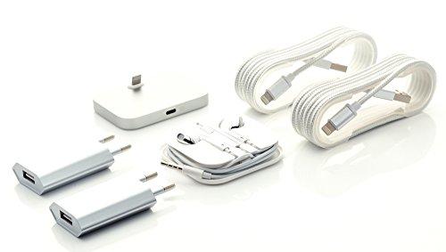 Preisvergleich Produktbild iProtect 6 in 1 Mega Zubehör Set mit Slim Docking + In-Ear Stereo Kopfhörer + 2 x USB Lightning Ladekabel + 2 x Slim Charger für Apple iPhone 5 5s 5c 6 6s Plus, iPod Touch 5G 6, iPod Nano 7G - in silber