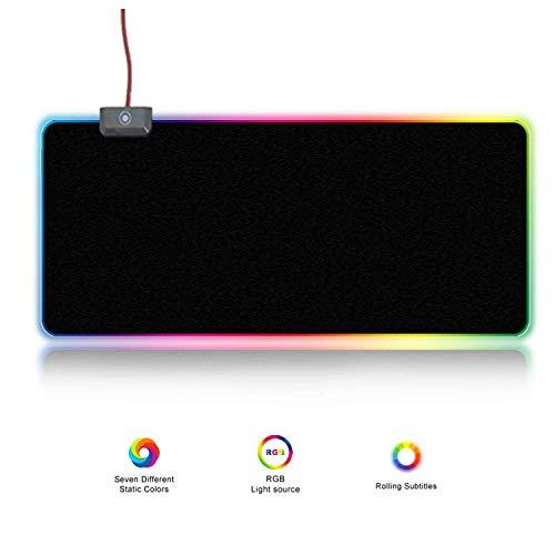 JHKJ RGB-Gaming-Mauspad führte die Atmungsbeleuchtung (9 Beleuchtungsmodi), große USB-Computer-Mausunterlage