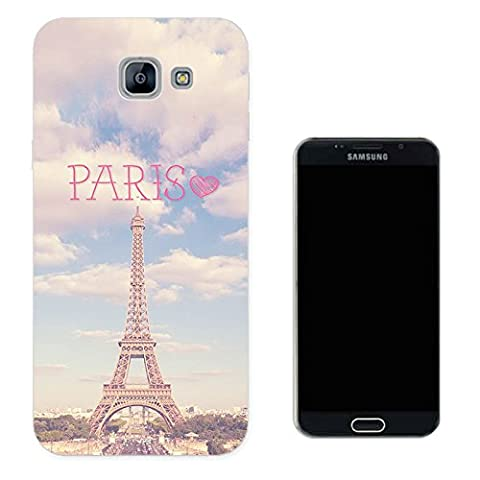 002515 - Paris Eiffel Tower Vintage Shabby Chic Roses Fleur Girly Design Samsung Galaxy A5 (2017) SM-A520F Fashion Trend CASE Gel Rubber Silicone All Edges Protection Case