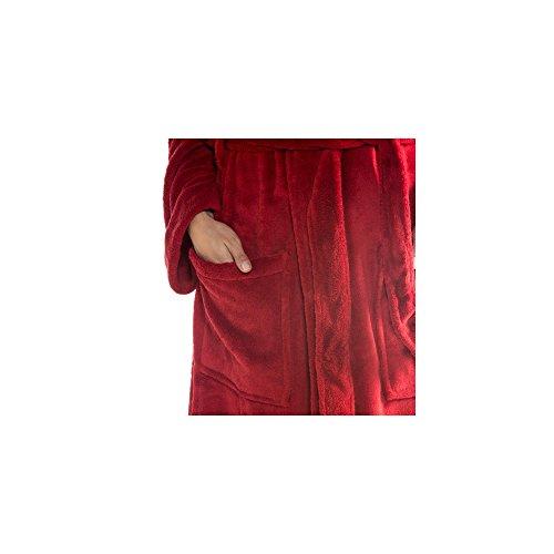 Eleganter Bademantel für Damen & Herren | Größe S - XXXL in modernen Farben | Sauna-Mantel mit Schalkragen | Mikrofaser, Coralfleece, Gewicht ca. 260g/m² | CelinaTex 0004343 Nevada | grau mit cremewei Bordeaux Rot mit Korall Rot