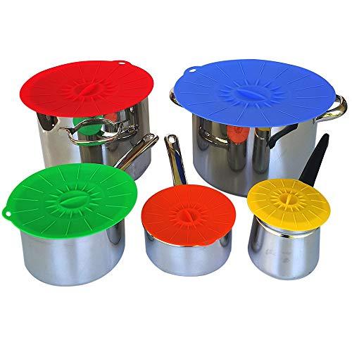 LXQ Silikon-Saugnapf-Lebensmittel-Set 5-teiliges Set Schüssel, Becken, Pfanne und Pfanne, Mikrowelle und halten die Küche sauber und frisch