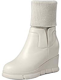 Moda Martin Boot Tacón Oculto Botas Casuales Tubo Ajustable Knight Boot Cuero Aumentado Todo El Partido Bota ( Color : Blanco , Size : 39 )