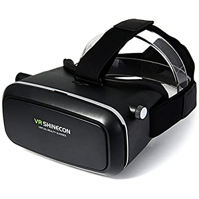 Eagwell® Virtual Reality iMax 3d Video Glasses Head Mount Plastic Version for 3D Movies Games 3.5-6 inch phone with Bluetooth Wireless Mouse Gamepad