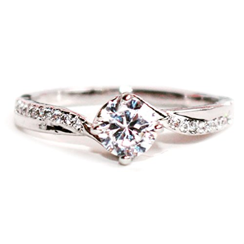 Gieschen Jewelers Solaflore- 14K White Gold-Plated CZ Crystal Dainty Ring, Size N 1/2 (Touchstone Crystal Schmuck)