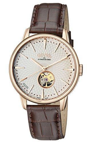 Gevril de los hombres 'Mulberry' Swiss automático tono dorado y piel Casual reloj, color: marrón (modelo: 9602)