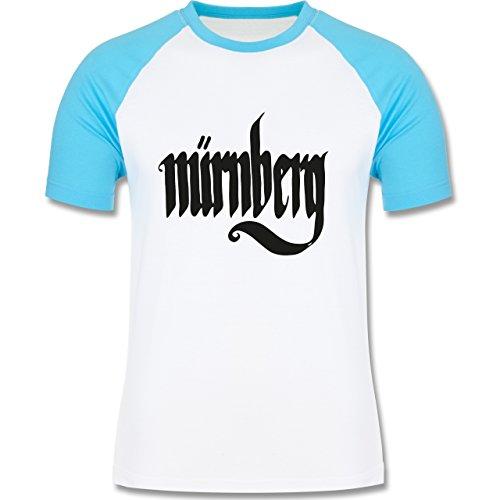 Städte - Nürnberg Typografie - zweifarbiges Baseballshirt für Männer Weiß/Türkis