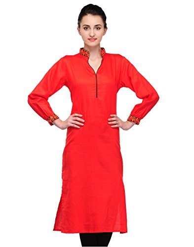 Cenizas Women's Cotton Straight Kurta (KURTIS/9008/RED/M_M_Red)