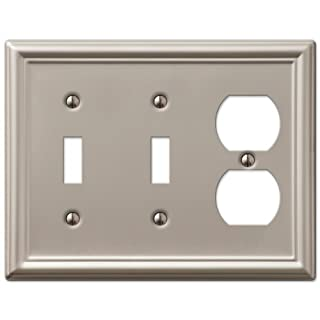 AmerTac 149TTDBN Chelsea Steel Double Toggle/Single Duplex Wallplate, Brushed Nickel by AmerTac