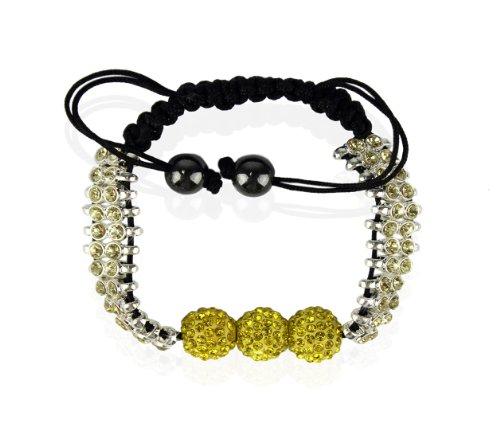 Ducomi® Katrina Zen Shamballa bracciale regolabile con 3 sfere cristallo 10 mm (Yellow)