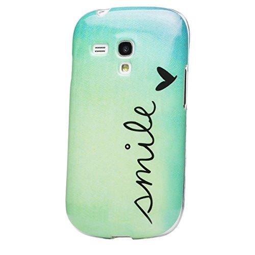 Samsung Galaxy S3 MINI   iCues Design TPU Case Smile   [Display Schutzfolie Inklusive] Damen Frauen Mädchen Silikon Gel Motiv Muster Schutzhülle Hülle Cover Schutz