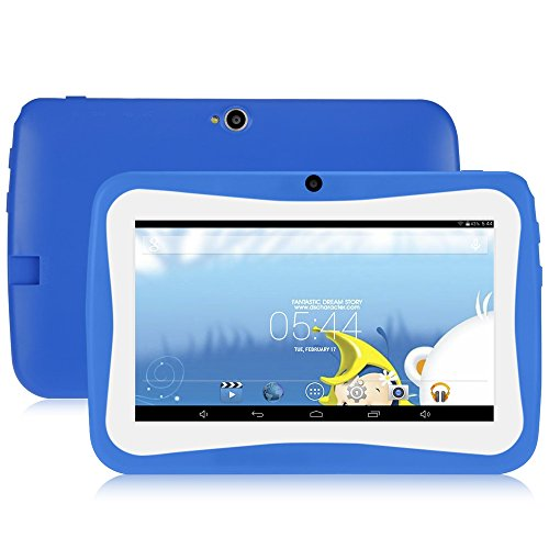 GBlife Kinder Tablet PC, 7.0 Zoll Tablet mit Silikonhülle, Android 4.4 Quad Core 1.2 GHz, 1 GB RAM + 16 GB ROM, 0.3MP Kameras, WIFI, Bluetooth (Blau)