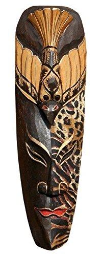Edle 50 cm Batik Gold Holz Wandmaske Vogel Leopard Tribal Maori Afrika Maske 56