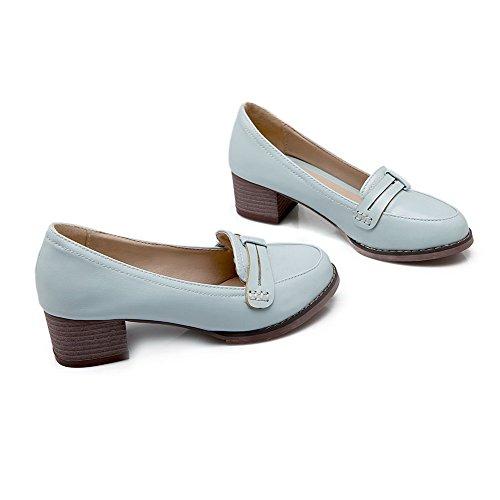 AllhqFashion Femme Rond Fermeture D'Orteil Tire Couleur Unie à Talon Correct Chaussures Légeres Bleu