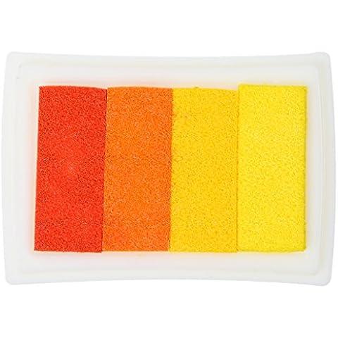 4 Sombra Almohadilla De Colores De Tinta De Huellas Digitales Corea DIY Estampación Artesanal - Naranja, 7,2 x 5,2 x 2,1 cm