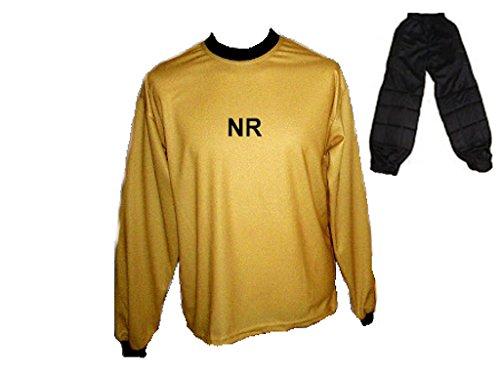 Torwart Trikot gepolstert Gold Lange TW Hose mit Wunschname Nummer Größe M (Jugend-fußball-torwart Trikot-mädchen)